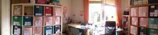 Weird panoramic photo of half of the current Love It HQ (my backroom)